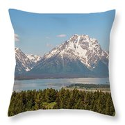 Grand Tetons Over Jackson Lake Panorama Throw Pillow by Brian Harig