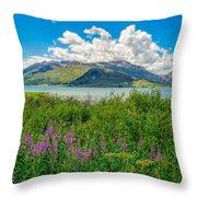 Grand Tetons Wildflowers Throw Pillow