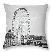 Grande Roue In Paris - Black And White Throw Pillow