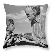 Grandfather And Boy With Model Plane Throw Pillow