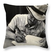 Grandfather's Straw Hat .2015 Throw Pillow