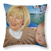 Grandma And Kaidin Throw Pillow