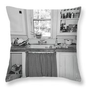 Grandma's Kitchen B W Throw Pillow