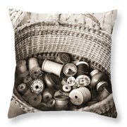 Grandma's Sewing Basket Throw Pillow