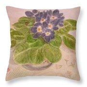 Grandma's Violets Throw Pillow