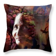 Grandmother Crow Throw Pillow