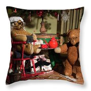 Grandpa And Grandma Teddy Bears' Christmas Eve Throw Pillow