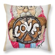 Grandpa Hippie Throw Pillow