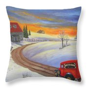 Grandpas Delivery Truck Throw Pillow