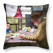 Grandpa's Workbench Throw Pillow by Sam Sidders