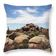 Granite Boulders And Saguaros  Throw Pillow