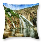 Granite Mountain Waterfall - Vintage Version Throw Pillow