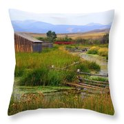 Grant Khors Ranch Deer Lodge  Mt Throw Pillow