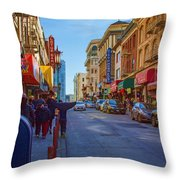 Grant Street In Chinatown Throw Pillow