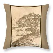 Grape Arbor On Brown Throw Pillow