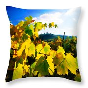 Grape Leaves And The Sky Throw Pillow by Elaine Plesser