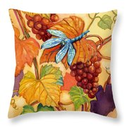 Grapes And Dragonfly Throw Pillow