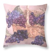 Grapes In Basket Throw Pillow