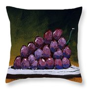 Grapes On A White Plate Throw Pillow