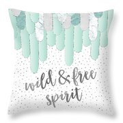 Graphic Art Feathers Wild And Free Spirit - Mint Throw Pillow