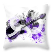 Graphic Art Guitar - Purple Throw Pillow