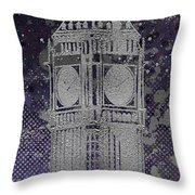 Graphic Art London Big Ben - Ultraviolet And Silver Throw Pillow