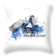 Graphic Art Music Lover - Blue Throw Pillow