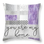 Graphic Art Silver You Are My Home - Violet Throw Pillow