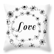 Graphic Black And White Flower Ring Of Love Throw Pillow
