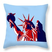 Graphic Statue Of Liberty Red White Blue Throw Pillow