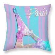 Graphic Style Paris Eiffel Tower Pink Throw Pillow by Melanie Viola