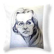 Graphite Portrait Sketch Of A Woman With Glasses Throw Pillow
