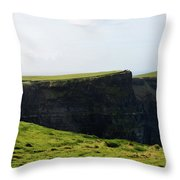 Grass Fields Surrounding The Cliff's Of Moher Throw Pillow