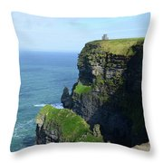 Grass Growing Along The Cliff's Of Moher In Ireland Throw Pillow