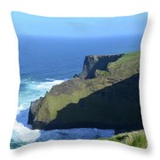 Grass Growing Along The Sea Cliffs In Ireland Throw Pillow