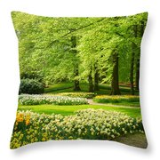 Grass Lawn With Daffodils  Throw Pillow