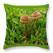 Grass Mushroom Pair           Tubaria Fungii           May           Indiana Throw Pillow