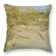 Grass On The Beach Sand Throw Pillow