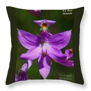 Grass Pink Orchid Throw Pillow