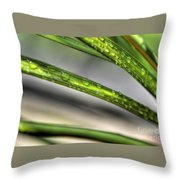 Grass With Droplets Throw Pillow