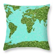 Grass World Map Throw Pillow