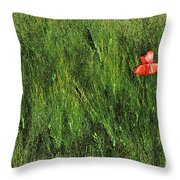Grassland And Red Poppy Flower 2 Throw Pillow