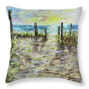 Grassy Beach Post Morning 2 Throw Pillow