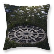 Grassy Manhole Throw Pillow