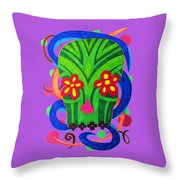 Grassy Skull Transparent Throw Pillow