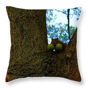 Grateful Tree Squirrel Throw Pillow