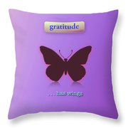 Gratitude Has Wings Throw Pillow