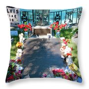 Grave Site At Graceland The Home Of Elvis Presley, Memphis, Tennessee Throw Pillow