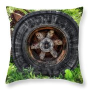 Gravel Pit Goodyear Truck Tire Throw Pillow