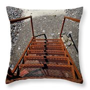 Gravel Pit Grinder Rusty Staircase Throw Pillow